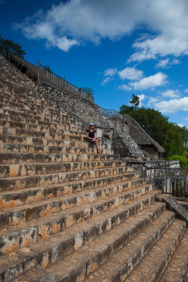 Very steep stairs in majestic ruins in Ek Balam. Yucatán, Mexico. stock photography