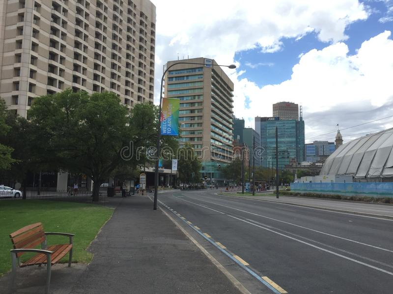 Nobody`s street at the weekend in Australia stock photos