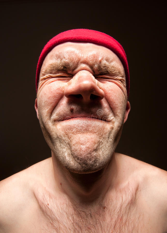 Very stressed funny man royalty free stock photo