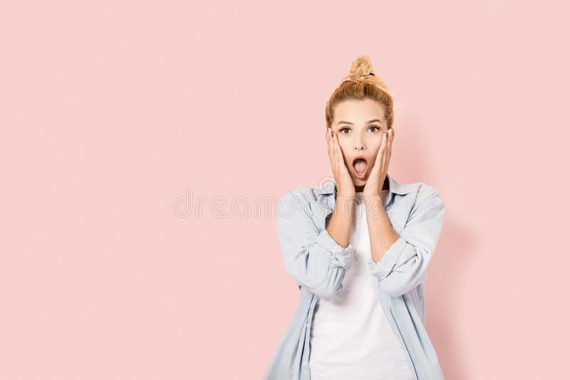 Very surprised young woman stock photography