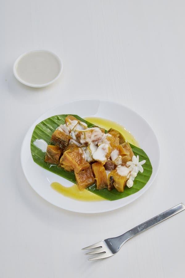 Thai sweet food pumpkin stock photo