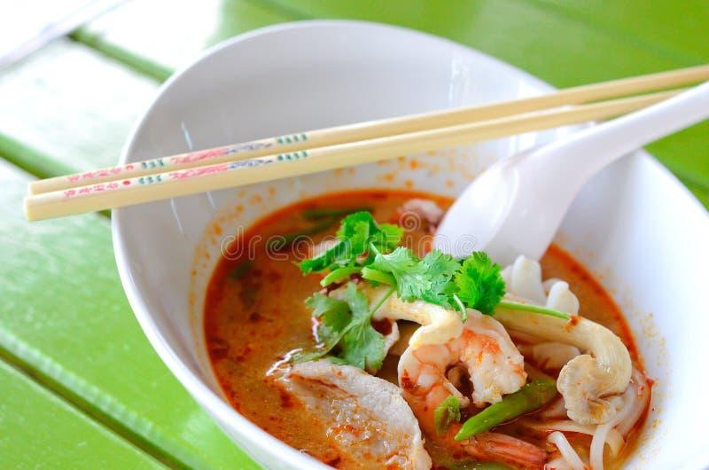 Very tasty tomyam noodle soup stock photography