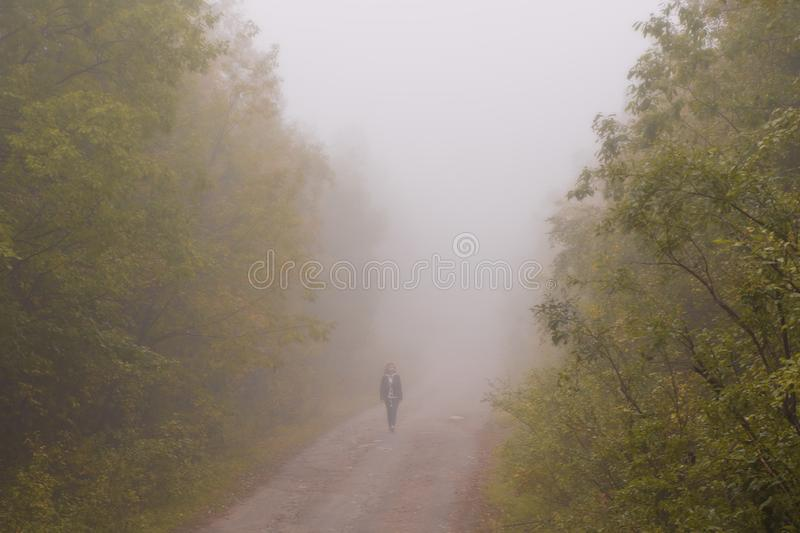 Very thick fog. The road disappearing into the fog. The concept of danger on the road.  royalty free stock photo