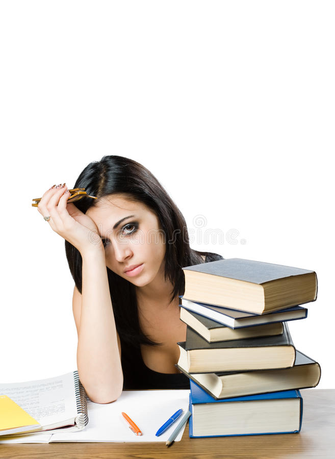 Very tired looking young student woman. stock images