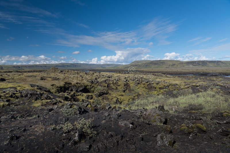 Very typical view of southern Iceland black rocky lava plains, covered by moss,lichens, bilberry and crowberry stock photography