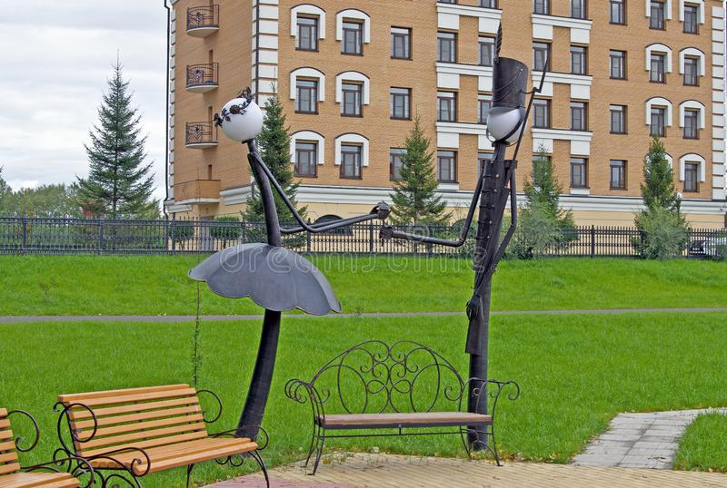 Very unusual street lights are installed in the park. Russia. Siberia. Summer stock images