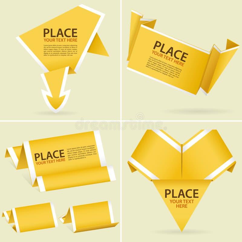 Verzamel de Banner van de Origami van het Document vector illustratie