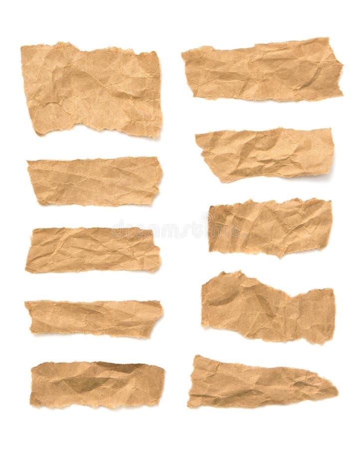 Verzamelen van gespleten bruine papierscheuren stock fotografie