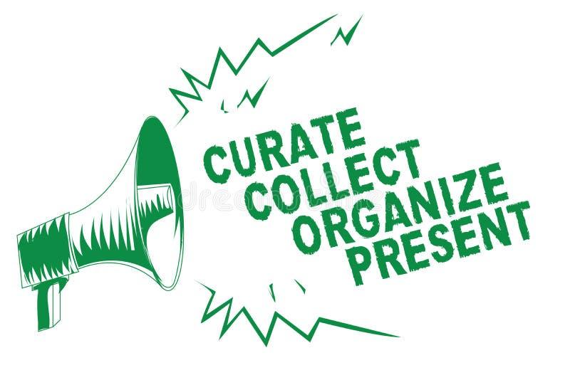 Verzamelt de schrijvende Kapelaan van de handschrifttekst organiseert Heden Concept die Terugtrekt Organisatie Curation die Groen vector illustratie