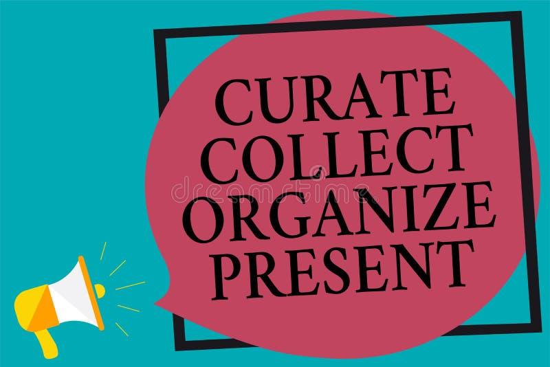 Verzamelt de schrijvende Kapelaan van de handschrifttekst organiseert Heden Concept die Terugtrekt Organisatie Curation die Megaf royalty-vrije illustratie