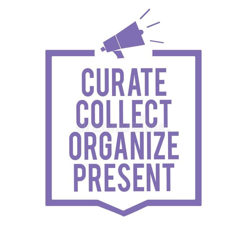 Verzamelt de schrijvende Kapelaan van de handschrifttekst organiseert Heden Concept die Terugtrekt Organisatie Curation die Megaf vector illustratie