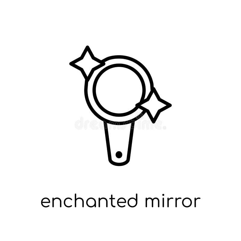 Verzauberte Spiegelikone Modischer moderner flacher linearer Vektor Enchante vektor abbildung