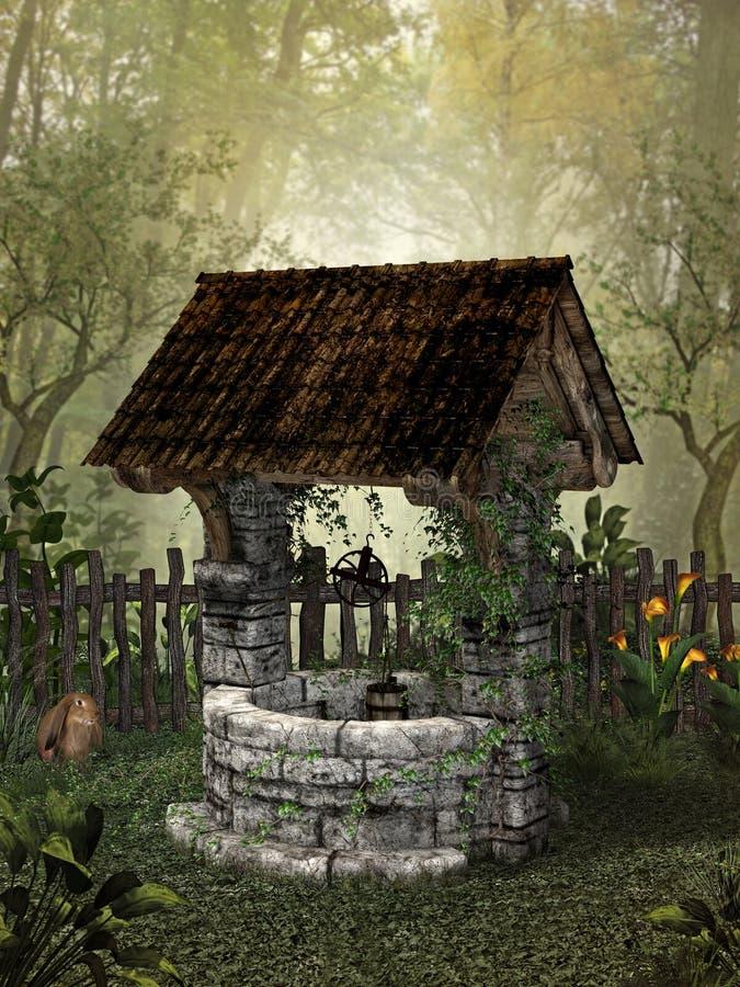 Verzauberter Forest Well vektor abbildung