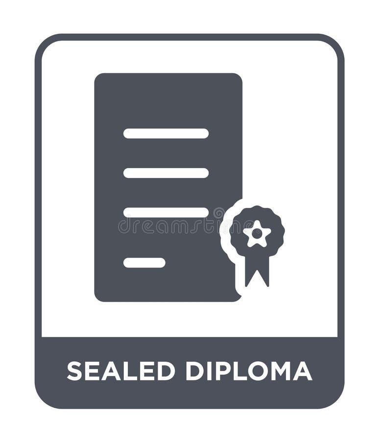 verzegeld diplomapictogram in in ontwerpstijl Verzegeld die diplomapictogram op witte achtergrond wordt geïsoleerd verzegeld eenv stock illustratie