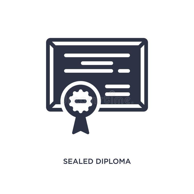 verzegeld diplomapictogram op witte achtergrond Eenvoudige elementenillustratie van Onderwijsconcept vector illustratie