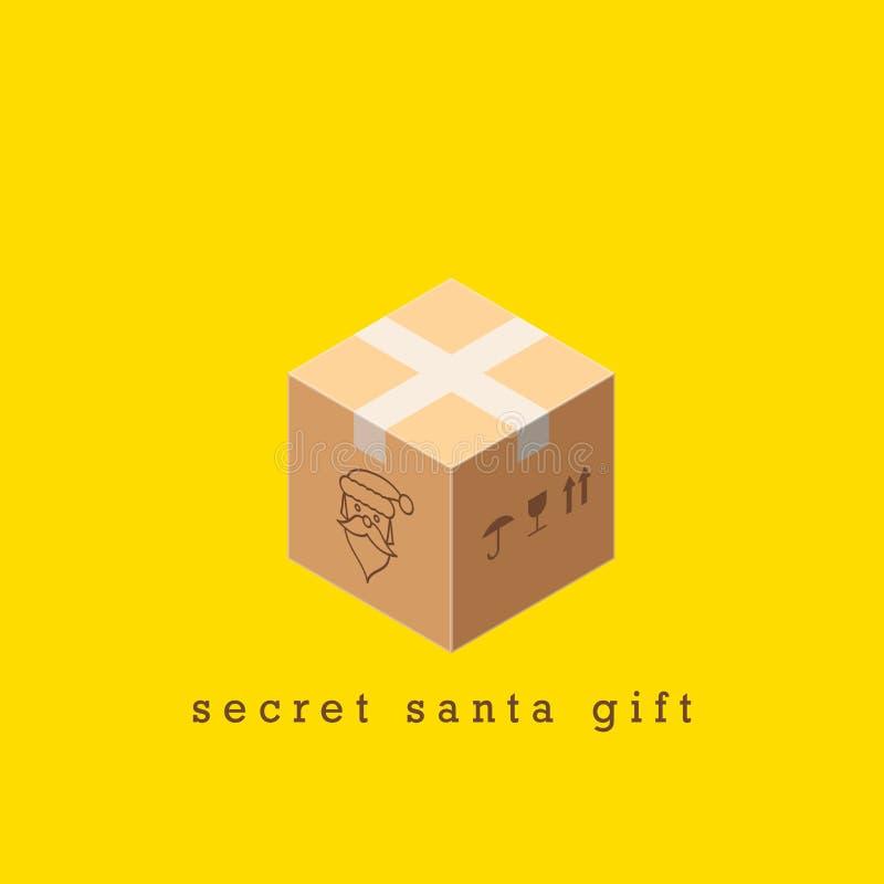 Verzegeld Pakket, Geheime Santa Gift Vrolijke Kerstmis en gelukkig nieuw jaar 2020 Vector illustratie stock illustratie
