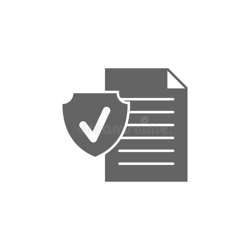 Verzekering, contract, beleid, beschermingspictogram Element van het verzekeringspictogram Premium - pictogram voor grafisch ontw stock illustratie