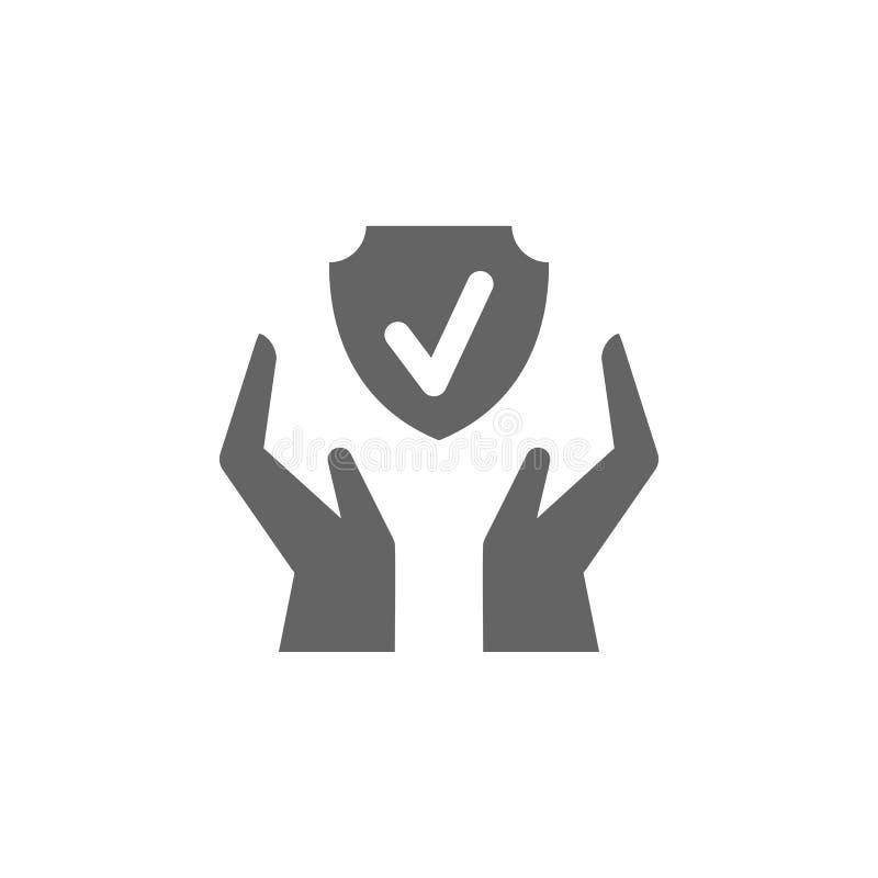 Verzekering, handen, bescherming, schildpictogram Element van het verzekeringspictogram Premium - pictogram voor grafisch ontwerp vector illustratie