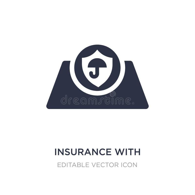 verzekering met een knooppictogram op witte achtergrond Eenvoudige elementenillustratie van Algemeen concept stock illustratie