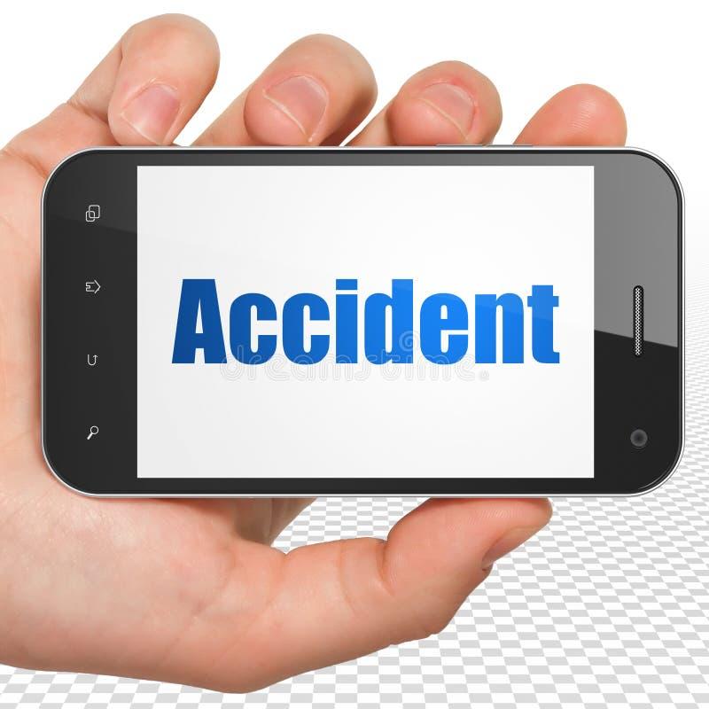 Verzekeringsconcept: Handholding Smartphone met Ongeval op vertoning royalty-vrije illustratie