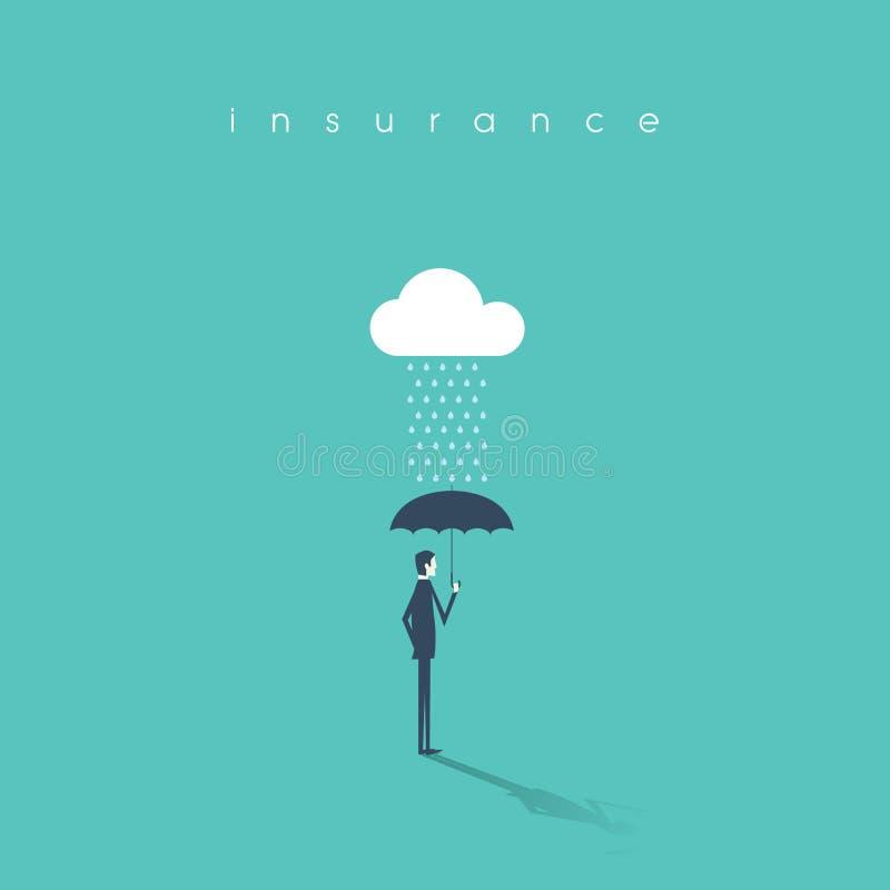 Verzekeringsconcept met de paraplu van de zakenmanholding als bescherming Risicodragende belegging of beheers abstracte achtergro vector illustratie