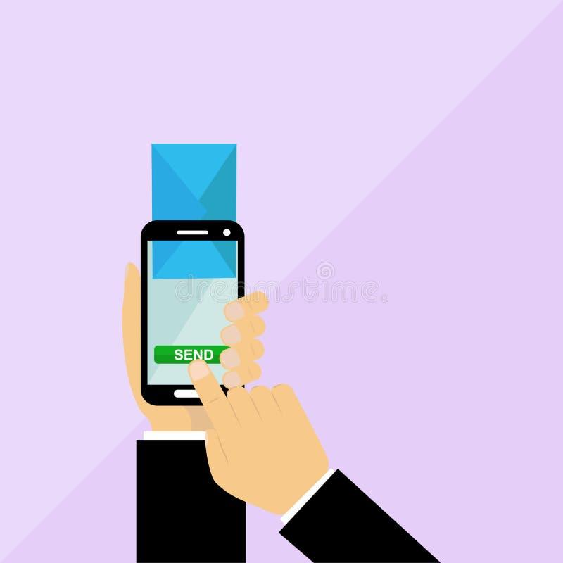 Verzend e-mail van smartphone, eenvoudig vlak ontwerp stock illustratie