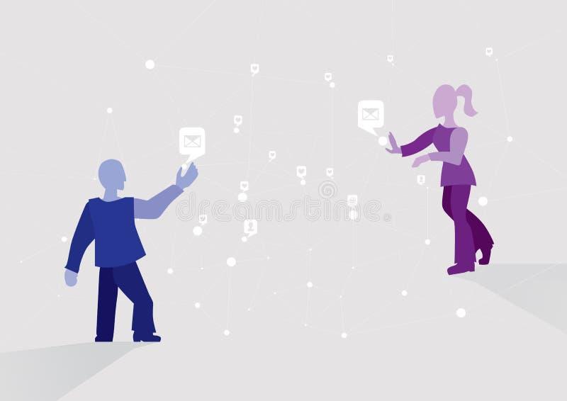 Verzend een bericht Online verbinding Sociale netwerken en boodschappers, snelle mededeling in het netwerk, het concept stock illustratie