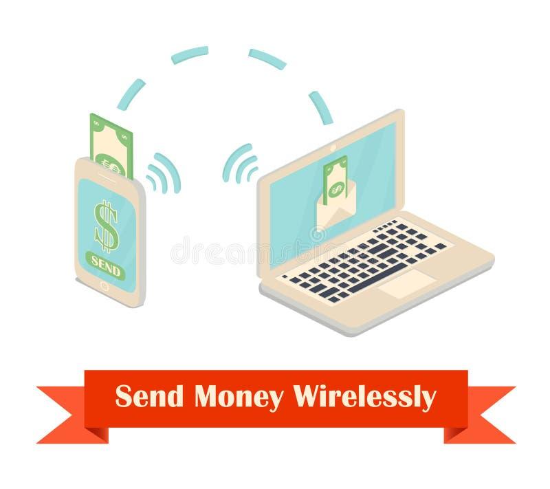 Verzend geld draadloze illustratie stock illustratie