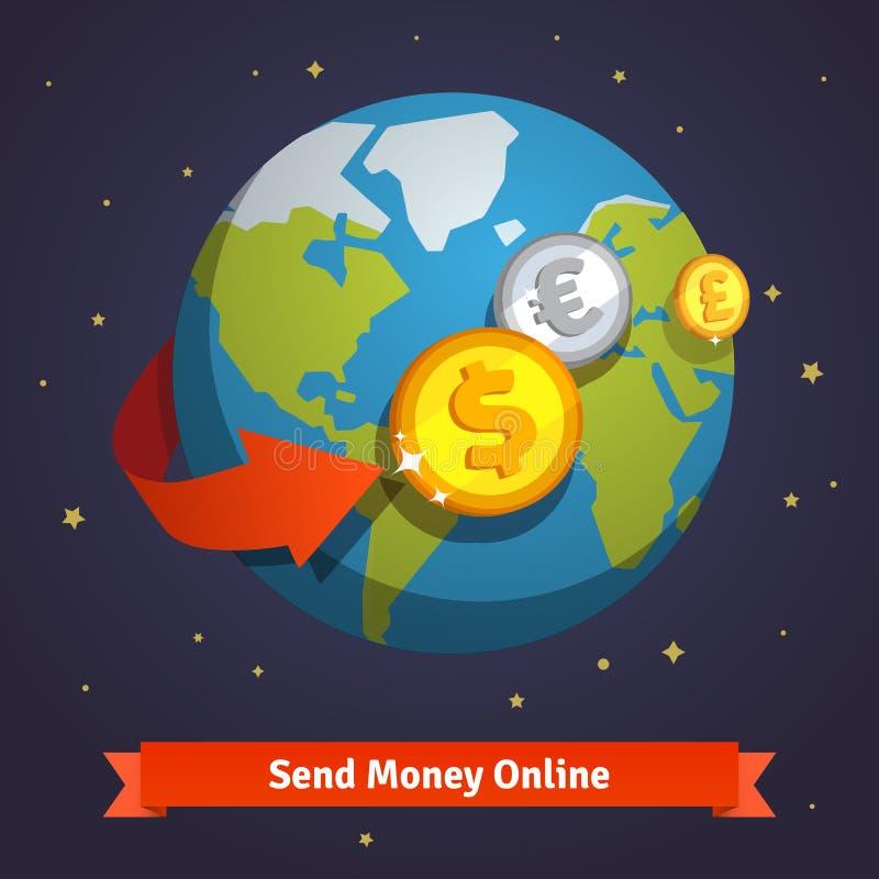 Verzend geld online concept royalty-vrije illustratie