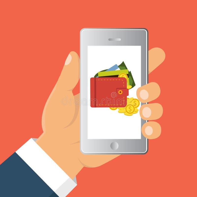 Verzend geld via smartphone Concept voor mobiel bankwezen en online betaling stock illustratie
