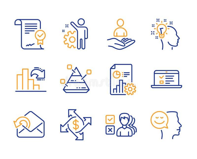 Verzend post, Goedgekeurde overeenkomst en geplaatste Rapportpictogrammen Betalingsuitwisseling, het Verminderen grafiek en Ideet stock illustratie