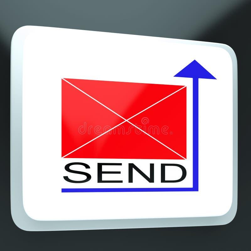Verzend Postknoop die Online Correspondentie tonen stock illustratie