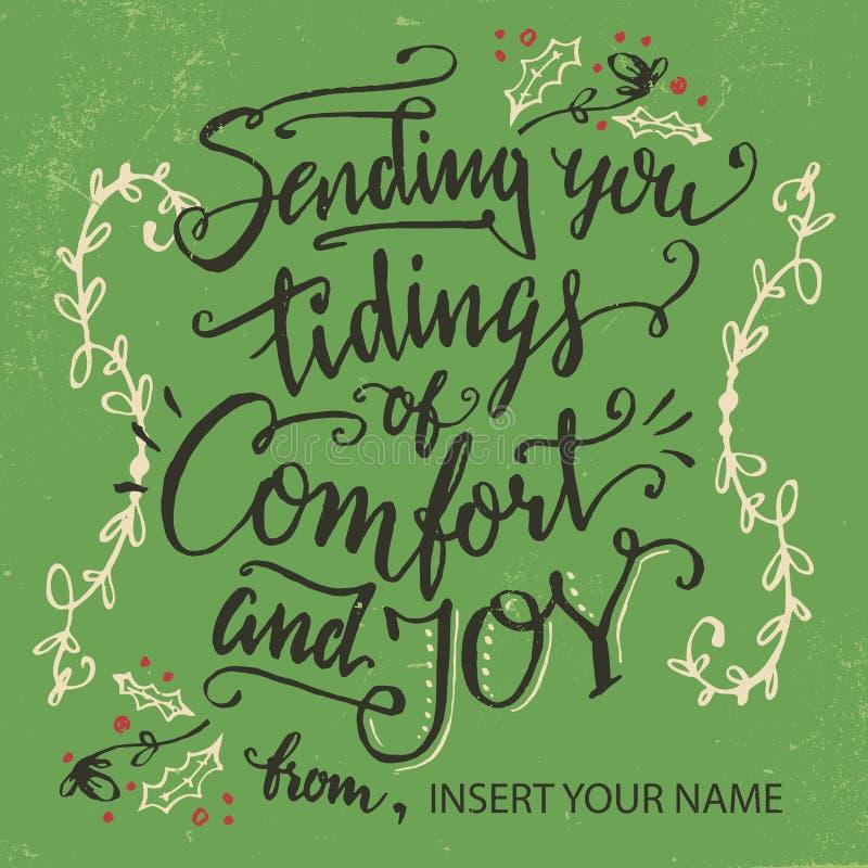 Verzendend u tijding van comfort en vreugde vector illustratie