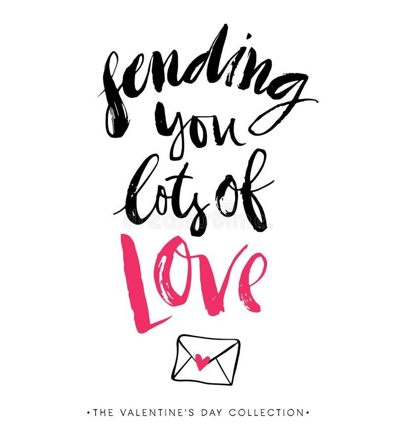 Verzendend u veel Liefde De Kaart van de Groet van de Dag van valentijnskaarten vector illustratie