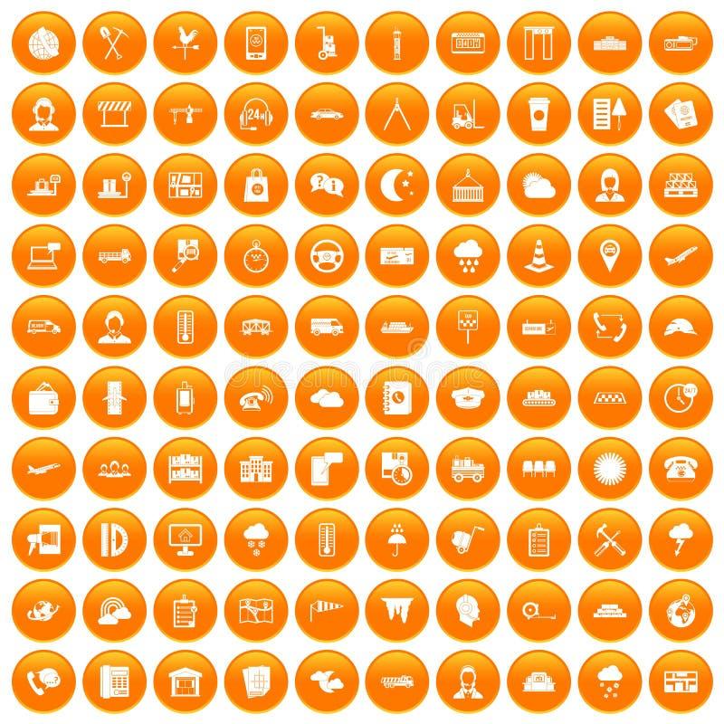 100 verzenderspictogrammen geplaatst oranje stock illustratie