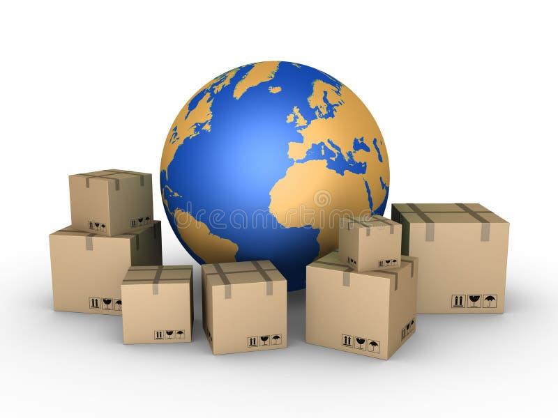 Verzending van pakketten over de hele wereld royalty-vrije illustratie