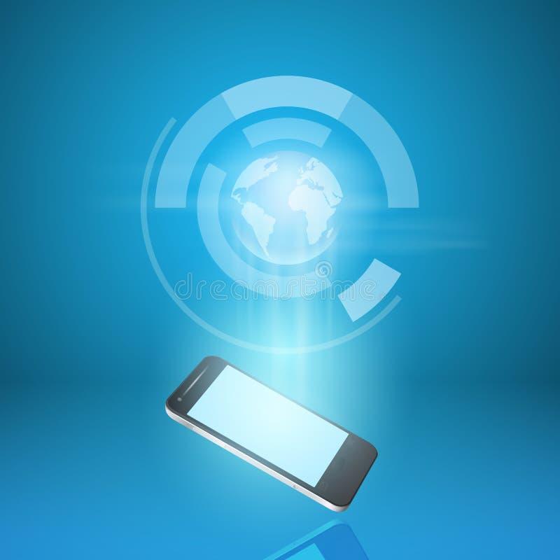 Verzendt de mobiele telefoon van het aanrakingsscherm postwereld vector illustratie