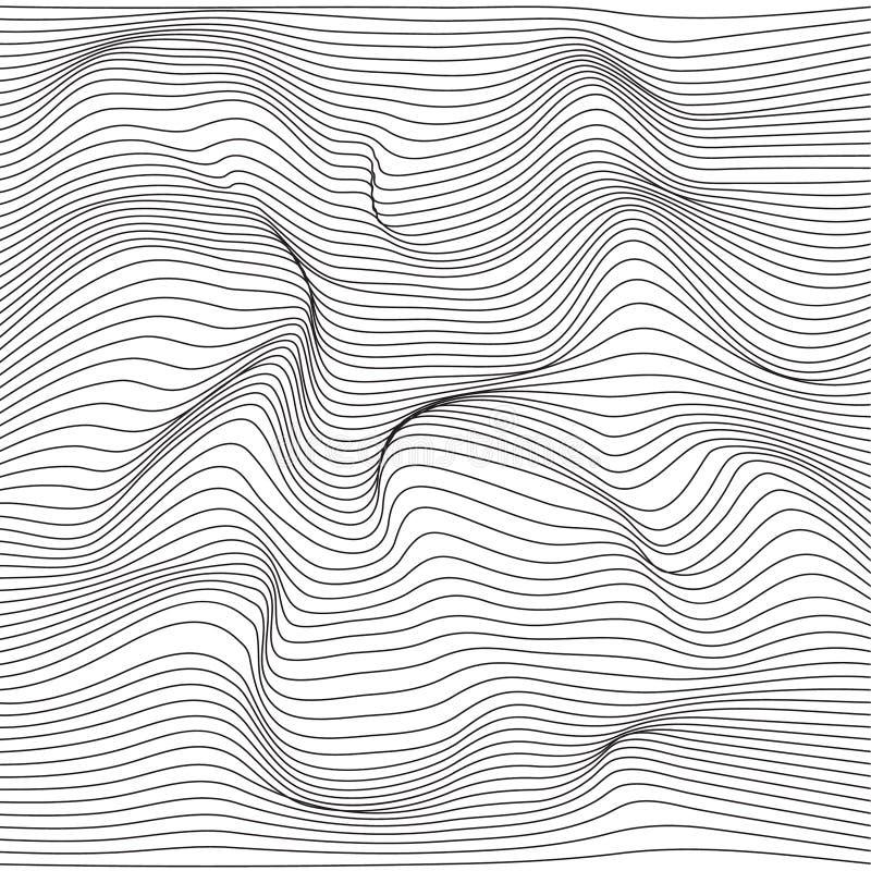 Verzerrte Wellenmonochrombeschaffenheit vektor abbildung