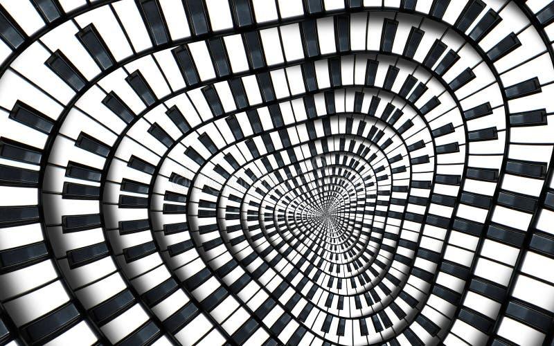Verzerrter Klaviertastatur-Musikstrudelzusammenfassung Fractalspiralen-Musterhintergrund Runde Spirale des Schwarzweiss-Klaviers  stock abbildung