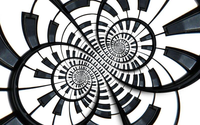 Verzerrter Klaviertastatur-Musikstrudelzusammenfassung Fractalspiralen-Musterhintergrund Runde Spirale des Schwarzweiss-Klaviers  lizenzfreie abbildung