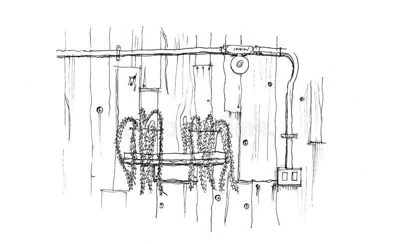 Verzieren Sie in der hölzernen Wand der Dachbodenart und zeigen Sie elektrisches Stahlrohr vektor abbildung