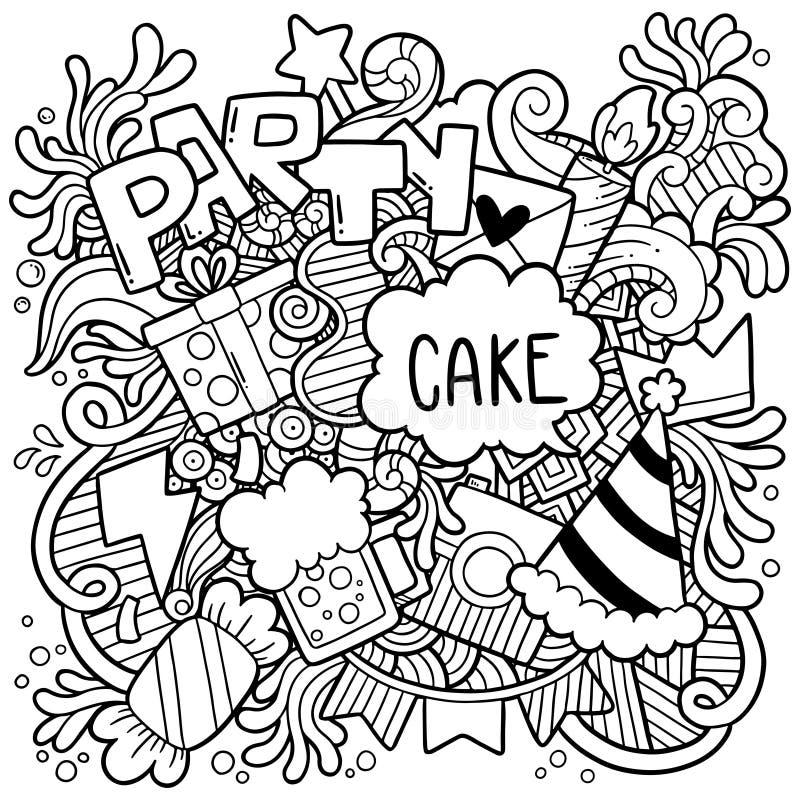 06-19-003 verziert alles Gute zum Geburtstag Handdes gezogenen Parteigekritzels Hintergrundmuster Vektorillustration stock abbildung