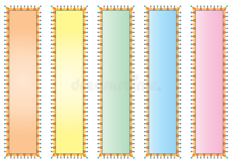 Verzierte bunte Fahnen stock abbildung
