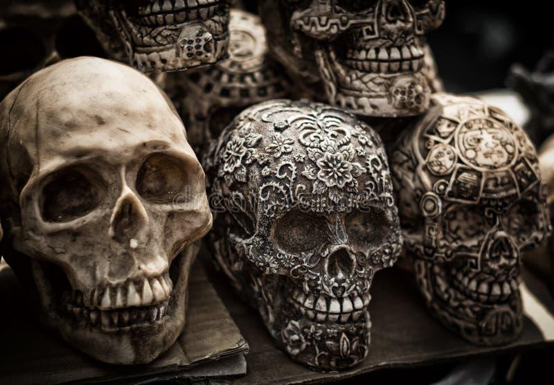 Verzierte bunte Schädel, Tag von Toten, Mexiko stockfotografie