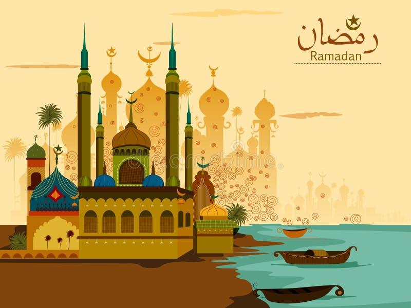 Verzierte Moschee in Eid Mubarak Happy Eid Ramadan-Hintergrund vektor abbildung
