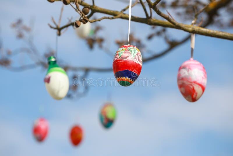 Verzierte Ostereier auf dem Baum stockfoto