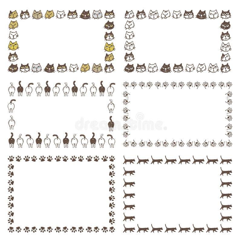 Verzierte Rahmen Mit Unterschiedlicher Art Von Katzen, Von Buttockes ...