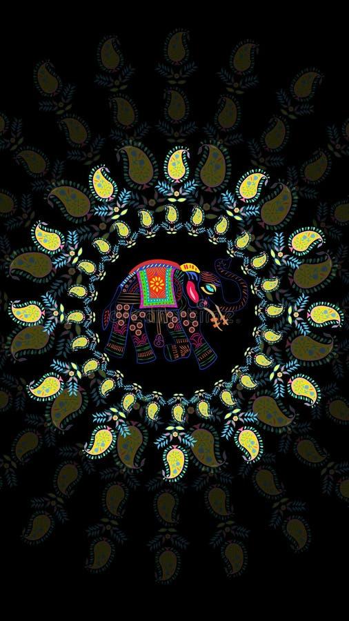Verzierte traditionelle ethnische schwarze Hintergrundtapete Elefantblumen-Paisley-Designs vektor abbildung