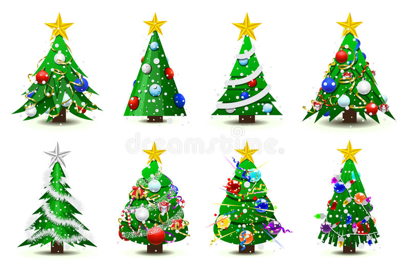 Verzierte Weihnachtsbäume stock abbildung