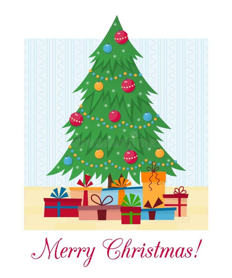 Verzierter Ð-¡ hristmas Baum mit Geschenkboxen, Lichtern, Dekorationsbällen und Lampen Frohe Weihnachten und ein glückliches neue lizenzfreie abbildung